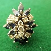 Spectacular Vintage 14K WG Cocktail Ring Sapphire & Diamond