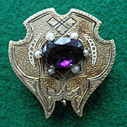 Victorian 14K Brooch / Watch Pin Amethyst Seed Pearls