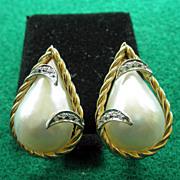 14 K  YG Cultured Mabe Pearl Diamond Earrings