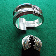 Sterling Taxco Bracelet & Earrings With Abalone