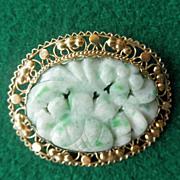 14K Carved Jade Brooch/Pin   Pendant