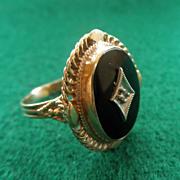 14k YG Onyx Retro Ring Diamond