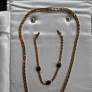 Vintage 14K Demi-Parure Necklace & Bracelet Sapphire & Diamonds