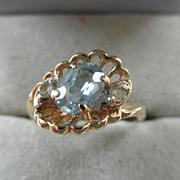 Sweet 14K Blue Topaz & Diamond Ring