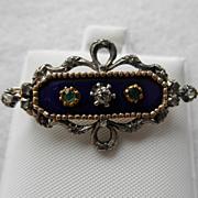 Edwardian 18K & Silver Brooch Diamonds Emeralds & Enamel