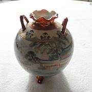 Japanese Kutani Two Handled Vase Meiji Period Signed