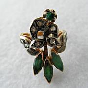 Antique 18K Bird Ring Emeralds & Diamonds
