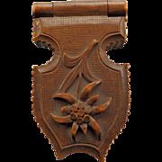 Hand Carved Black Forest Pocket Watch Holder