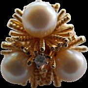 14 Karat Yellow Gold Cultured Pearl & Diamond Ring