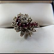 14k WG Diamond & Ruby Spiral Ring