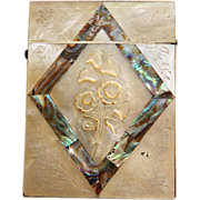 Antique Carved Mother of Pearl & Abalone Card Case