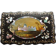 Antique Papier Mache Box With Castle Scene Mother of Pearl & Abalone Inlay