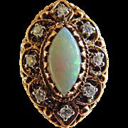 Victorian14K Opal & Diamond Ring