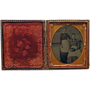 Tintype of Two Maids In Case Sixth Plate