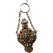 Victorian Ormolu Filigree Jeweled Chatelaine Perfume