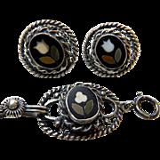 Vintage Pietra Dura Bracelet & Earrings Sterling Silver