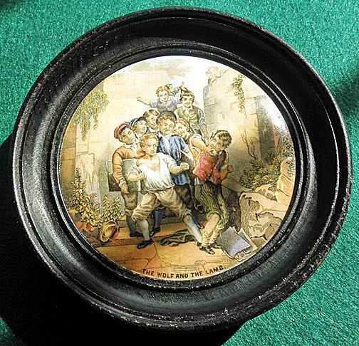"""Framed 19th Century English Prattware Pot Lid """"The Wolf And The Lamb"""""""