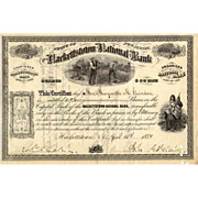 1880s Hackettstown National Bank, New Jersey Stock Certificate