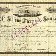 1886 Old Colony Steamboat Stock Certificate