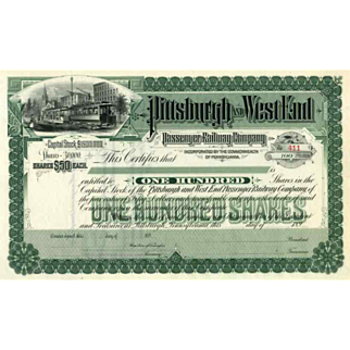 SALE 189_ Pittsburgh & West End Passenger RW Stock Certificate