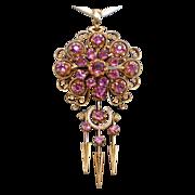 Victorian  Rhodolite Garnet & 18K Pendant Brooch...Pretty In Pink !