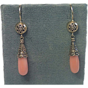 Earrings; Coral  & 9 CT. Gold, English, C. 1900