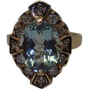 Vintage Ring;  14K,  Aquamarine & Diamonds & Enamel Accents