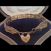 Gate Link Bracelet With Padlock Closure ,  9 CT Rose Gold , C.1900