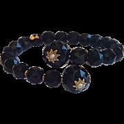 Victorian Coil Wrap Bracelet ; Onyx , 14K & Natural Pearls