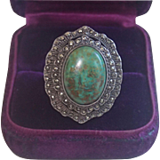 Art Deco Ring; Sterling Silver , Turquoise & Marcasite