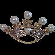 14K , Cultured Pearl & Diamond Crown Pin
