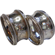 Matching Pair Of  Silver Napkin Rings For Babies,  French  C. 1900
