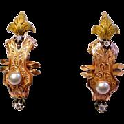 French Poissard  Earrings;  18K , Diamonds & Pearls ,  C. 1790