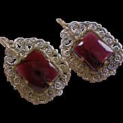 Earrings;   Garnet & 14K,  European , Circa 1860