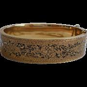 Victorian Bangle Bracelet , 14K Gold & Black Tracery Enamel