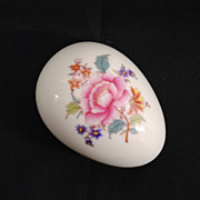 Herend Hungary Hand Painted Porcelain Egg Shaped Trinket Box