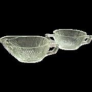 Hazel Atlas Glass Starlight Cream & Sugar Set 1938 - 1940