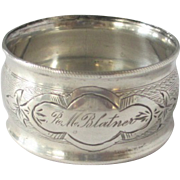 Victorian Sterling Silver Engraved Napkin Ring