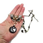 Black Pearl Assemblage Necklace - Vintage elements - Gothic Bridal - InVintageHeaven