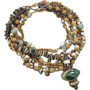 Mermaid Sea Shell Necklace - Vintage Convertible Chunky Assemblage - Statement Piece One of a Kind - InVintageHeaven