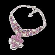 Fleur-de-Lis Pink Rhinestone Bib Necklace - Purple Silver Bling - Vintage Assemblage - InVintageHeaven
