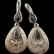 Silver Earrings, Lapis Black, Vintage Earrings, Kuchi Boho Gypsy, Kazakh, Kazakhstan, Afghan Jewelry, Bohemian, Statement, Ethnic Tribal