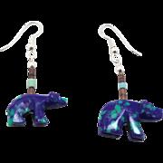 Bear Fetish Earrings, Malachite Azurite, Blue Green Earrings, Vintage Dangle, Zuni Bear, Beaded, Turquoise, Boho Bohemian, Southwestern