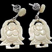 Buddha Earrings, Mother of Pearl, Vintage Earring, Shell, Statement, Yoga, Boho Statement, Gypsy Jewelry, MOP, Bohemian, Tribal Ethnic