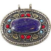 Afghan Lapis Silver Pendant - Vintage Turkomen Kuchi Gypsy - InVintageHeaven