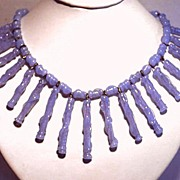 SALE Vintage 1950 Signed German Blue Glass Long Fringe Necklace c.1950