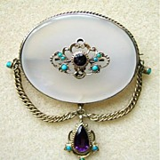 English Victorian Silver Gilt Chalcedony Amethyst Turquoise Dropper Brooch c.1820 - 1840