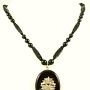 Antique English Victorian Whitby Jet Gold Pearl Locket And Necklace