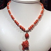 Antique Carved Coral Pendant And Pearl Necklace