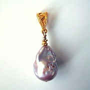 SALE Lavender Pink Rainbow Flameball Pearl And Solid 22 Carat Gold Pendant